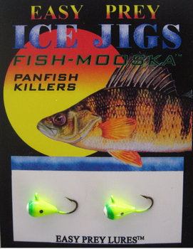ICE FISHING JIGS #10 ICE MOOSKA CHART-GREEN / EASY PREY LURES