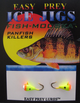 ICE FISHING JIGS #10 ICE MOOSKA CHART-ORANGE / EASY PREY LURES