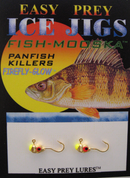 ICE FISHING JIGS #10 LS MINNOW GOLD-N-CHARTREUSE GLOW / EASY PREY LURES