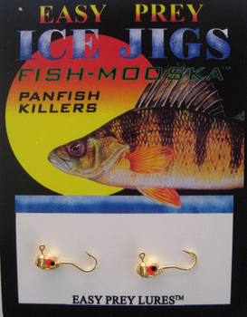 ICE FISHING JIGS #10 LS MINNOW GOLD PLATED / EASY PREY LURES