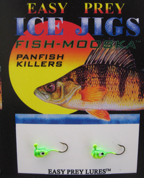 ICE FISHING JIGS #10 LS MINNOW CHART-GREEN / EASY PREY LURES