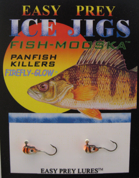 ICE FISHING JIGS #10 LS MINNOW GLOW PERCH / EASY PREY LURES