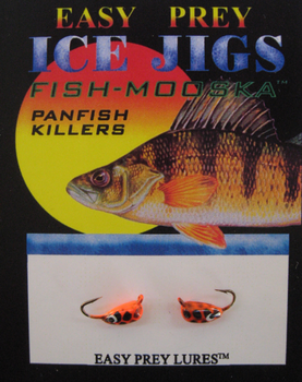ICE FISHING JIGS #12 BUG MOOSKA ORANGE/BLACK SNAKE / EASY PREY LURES