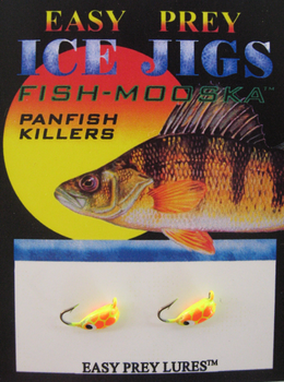 ICE FISHING JIGS #12 BUG MOOSKA CHART/ORANGE SNAKE / EASY PREY LURES