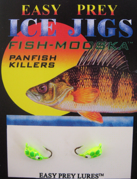 ICE FISHING JIGS #12 BUG MOOSKA CHART/GREEN SNAKE / EASY PREY LURES