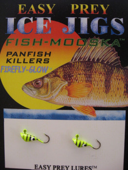 ICE FISHING JIGS #12 SHRIMP MOOSKA CH-BLACK GLOW TIGER / EASY PREY LURES