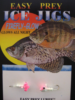 ICE FISHING JIGS #12 HORIZONTAL LARVE GLOW/PINK / EASY PREY LURES