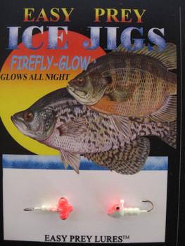 ICE FISHING JIGS #12 HORIZONTAL LARVE GLOW/RED / EASY PREY LURES