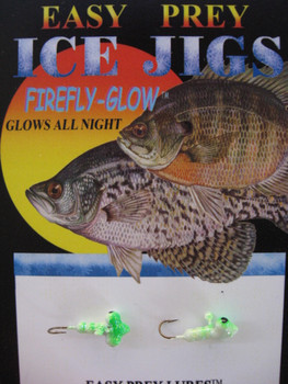 ICE FISHING JIGS #12 HORIZONTAL LARVE GLOW/GREEN / EASY PREY LURES