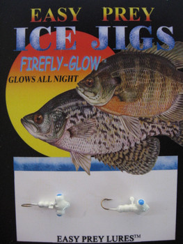 ICE FISHING JIGS #12 HORIZONTAL LARVE BLUE GLOW / EASY PREY LURES