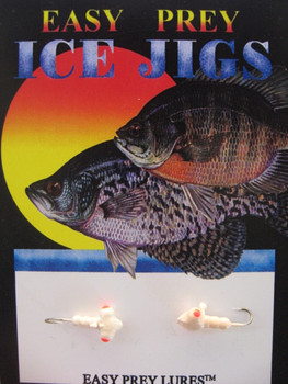 ICE FISHING JIGS #12 HORIZONTAL LARVE RED GLOW / EASY PREY LURES