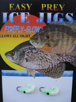 ICE FISHING JIGS #12 MEALWORM GLOW/GREEN / EASY PREY LURES