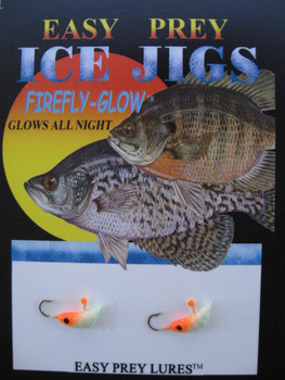 ICE FISHING JIGS #12 MEALWORM GLOW/ORANGE / EASY PREY LURES