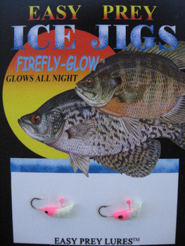 ICE FISHING JIGS #12 MEALWORM GLOW/PINK / EASY PREY LURES
