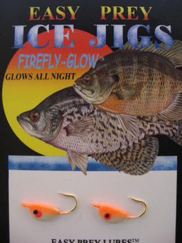 ICE FISHING JIGS #8 SHAD FRY GLOW/ORANGE / EASY PREY LURES