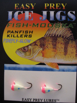 CE FISHING JIGS #10 ICE MOOSKA GLOW/PINK / EASY PREY LURES