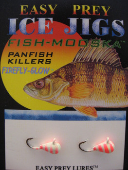 ICE FISHING JIGS #10 ICE MOOSKA GLOW/RED TIGER / EASY PREY LURES