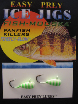WALLEYE ICE FISHING LURES #8 ICE MOOSKA GLOW/GREEN TIGER / EASY PREY LURES