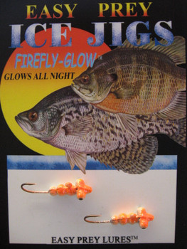 ICE FISHING JIGS #8 HORIZONTAL LARVA GLOW/ORANGE / EASY PREY LURES