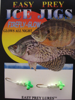 CRAPPIE ICE FISHING LURES #8 HORIZONTAL LARVA GLOW/GREEN / EASY PREY LURES
