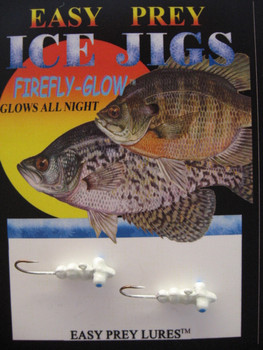 ICE FISHING JIGS FOR CRAPPIE #8 HORIZONTAL LARVA BLUE GLOW / EASY PREY LURES