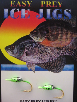 ICE FISHING JIGS #6 LADYBUG GREEN GLOW / EASY PREY LURES