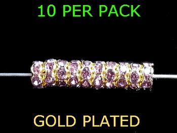 Wedding Ring Lure Beads 4mm GOLD/ LT. PURPLE