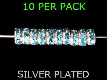 Wedding Ring Lure Beads 8mm SILVER/AQUA BLUE