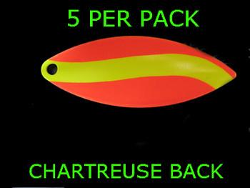 #5 WILLOWLEAF blade ORANGE/ CHARTRUESE STRIPE PAINTED BACK