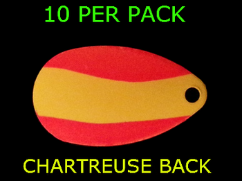 INDIANA BLADES size 2 ORANGE/ CHARTREUSE STRIPE PAINTED BACK