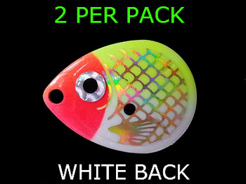 COLORADO #3 1/2 BAITFISH PRISM CHART/RED HEAD spinner Blades