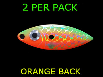 willowleaf BAITFISH PRISM ORANGE/GREEN spinner blades #3 1/2