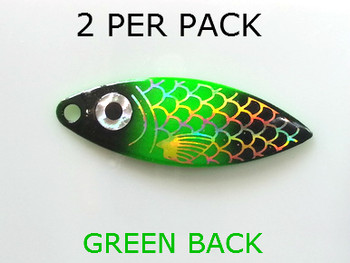 willowleaf BAITFISH PRISM GREEN/BLACK spinner blades #3 1/2