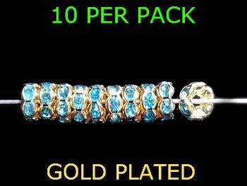 Wedding Ring Lure Beads 6mm GOLD/AQUA BLUE