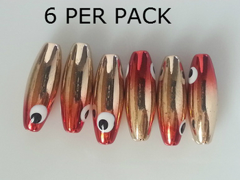 Lure Beads minnow GOLD PLATED RED HEAD