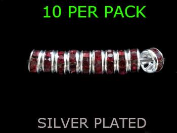 Wedding Ring Lure Beads 6mm SILVER/DARK RUBY
