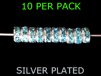 Wedding Ring Lure Beads 6mm SILVER/AQUA BLUE