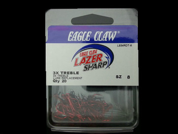 EAGLE CLAW L934R LAZER 3X RED TREBLE HOOKS for Lindy Rigs for walleye harnesses and walleye fishing EAGLE CLAW LAZER SHARP OCTOPUS HOOKS for Lindy Rigs for walleye harnesses and walleye fishing