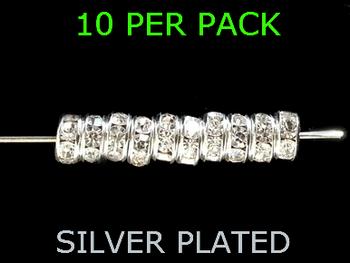 Wedding Ring Lure Beads 6mm SILVER/ DIAMOND