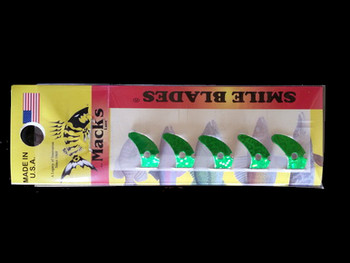 "Macks Smile Blade .8"" green sparkle for walleye harnesses"