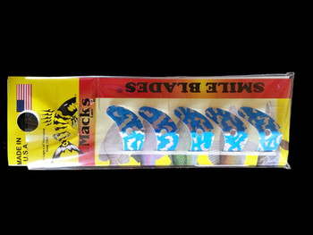 "Macks Smile Blade 1.1"" Blue Silver Tiger for walleye harnesses"