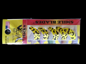 "Macks Smile Blade 1.1"" chartreuse black tiger for walleye harnesses"