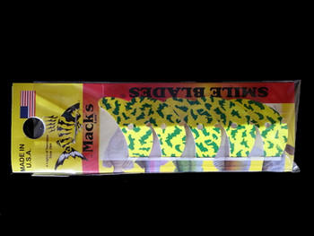 "Macks Smile Blade 1.1"" chartreuse green tiger for walleye harnesses"