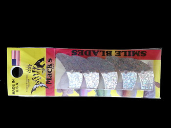 "Macks Smile Blade 1.5"" silver sparkle for walleye harnesses"