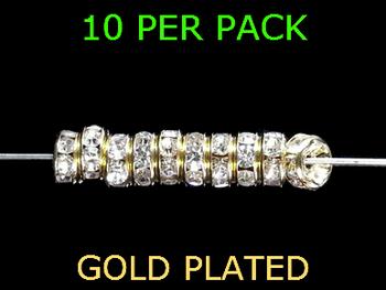 Wedding Ring Lure Beads 4mm GOLD/DIAMOND