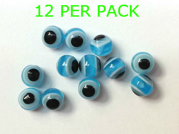 Lure Beads with EYES 6mm NEON BLUE