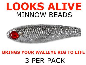 Lure beads Looks Alive Minnow Beads METALLIC SILVER w/RED GLASS EYE