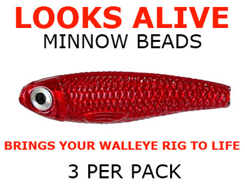 Looks Alive Minnow Beads METALLIC RED for worm rigs