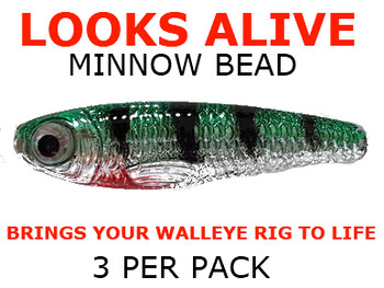 Looks Alive Minnow fishing lure Beads SILVER METALLIC GREEN PERCH