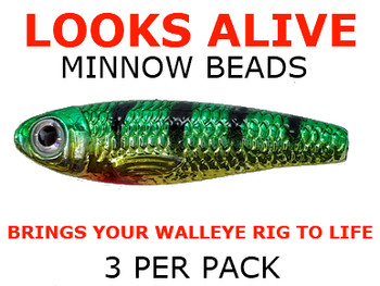 Looks Alive Minnow Beads GOLD METALLIC GREEN PERCH for live bait rigs